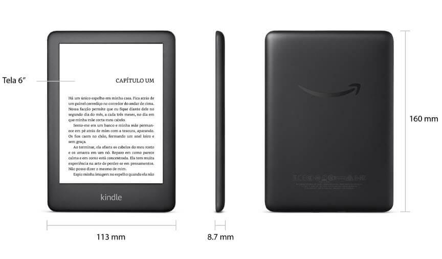 Novo Kindle Básico com iluminação embutida