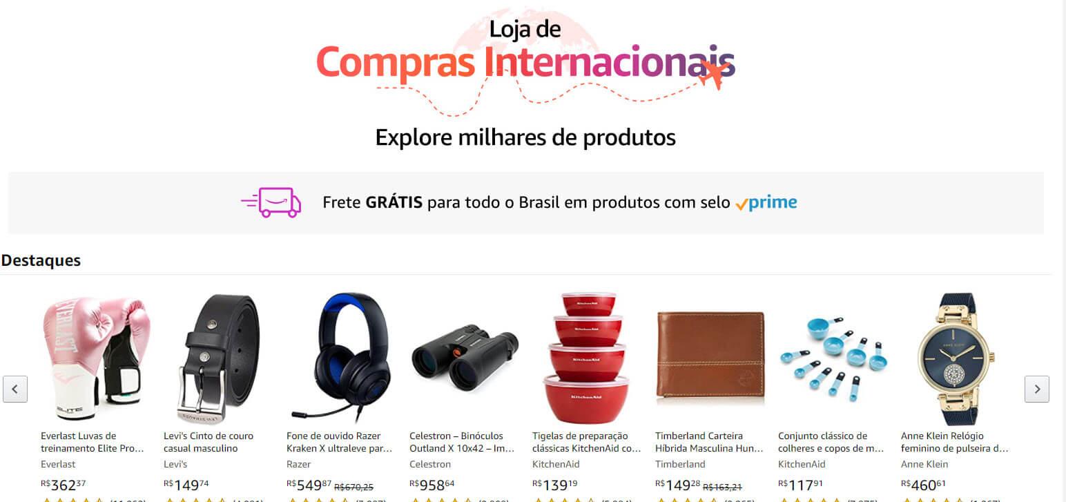 Loja de compras internacionais da Amazon